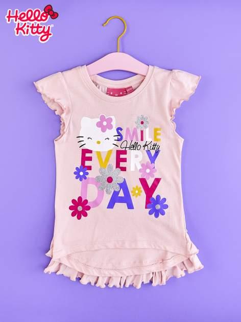 Jasnoróżowa tunika dla dziewczynki z falbankami HELLO KITTY
