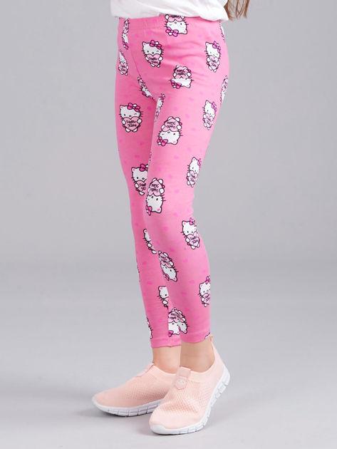 Jasnoróżowe legginsy dziewczęce z nadrukiem HELLO KITTY                              zdj.                              3