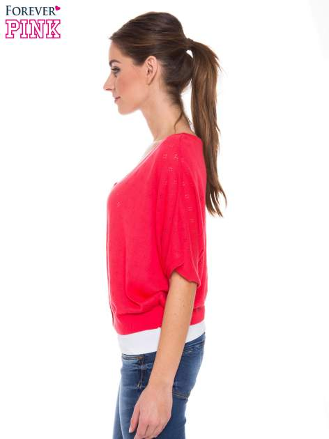 Jasnoróżowy ażurowy sweterek z krótkim rękawem                                  zdj.                                  2