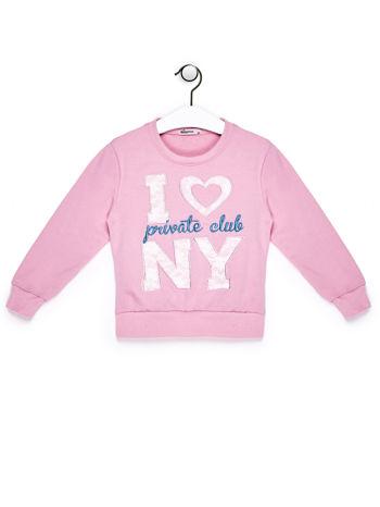 Jasnoróżowy komplet dla dziewczynki bluza i spodnie dresowe                              zdj.                              2
