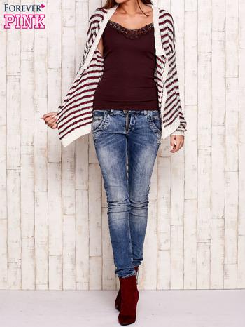 Jasnoróżowy otwarty sweter w paski                                  zdj.                                  4