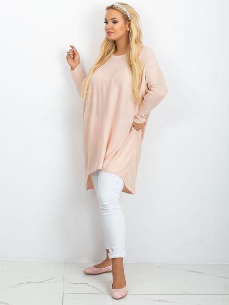 Jasnoróżowy sweter plus size Ester                              zdj.                              4