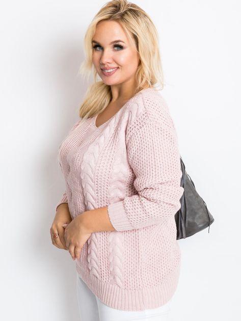 Jasnoróżowy sweter plus size Ruffle                              zdj.                              1
