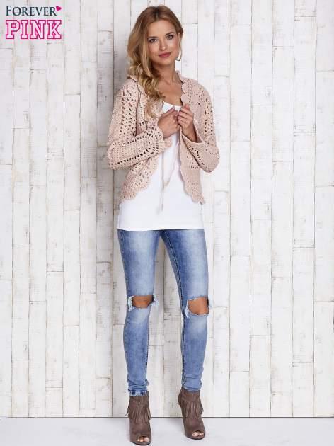 Jasnoróżowy sweter z wiązaniem                                  zdj.                                  5