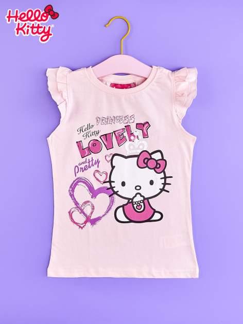 Jasnoróżowy t-shirt dla dziewczynki z falbankowymi rękawkami HELLO KITTY                                  zdj.                                  1