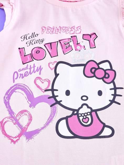 Jasnoróżowy t-shirt dla dziewczynki z falbankowymi rękawkami HELLO KITTY                                  zdj.                                  4
