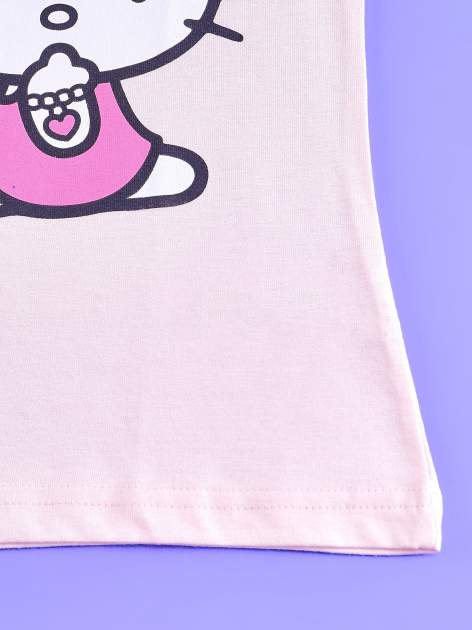 Jasnoróżowy t-shirt dla dziewczynki z falbankowymi rękawkami HELLO KITTY                                  zdj.                                  5