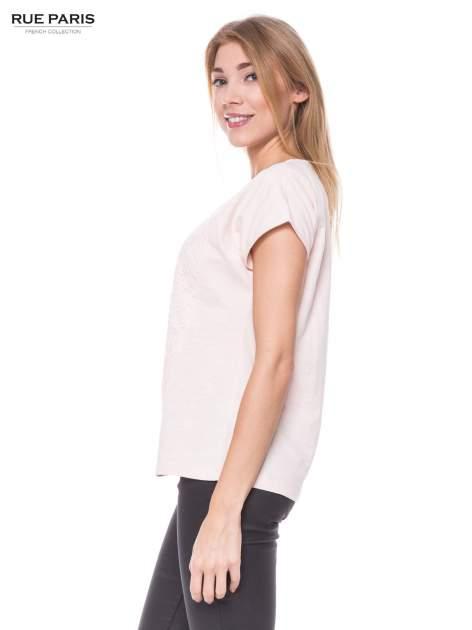Jasnoróżowy t-shirt z koronkowym przodem                                  zdj.                                  2