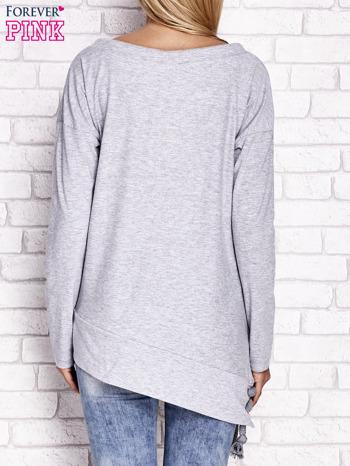 Jasnoszara asymetryczna bluza z troczkami                              zdj.                              4