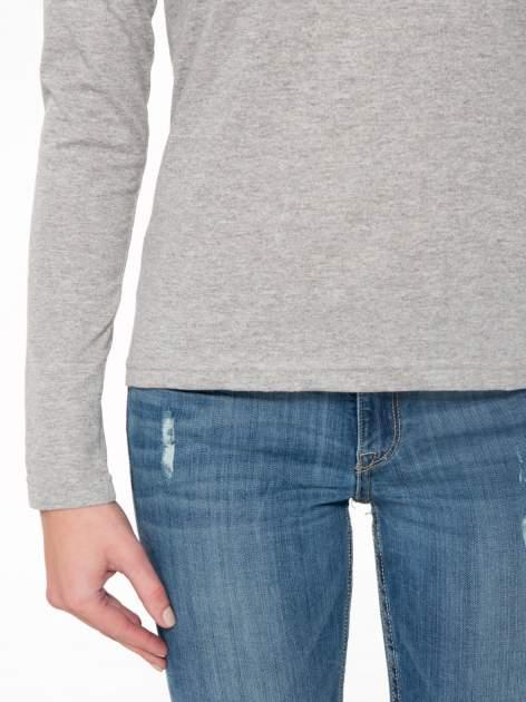 Jasnoszara bawełniana bluzka typu basic z długim rękawem                                  zdj.                                  7