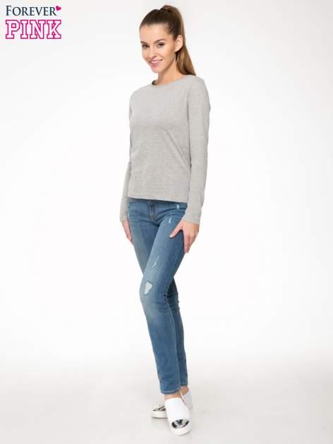 Jasnoszara bawełniana bluzka typu basic z długim rękawem                                  zdj.                                  2