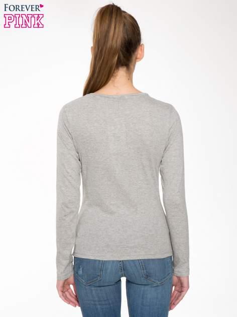 Jasnoszara bawełniana bluzka typu basic z długim rękawem                                  zdj.                                  4