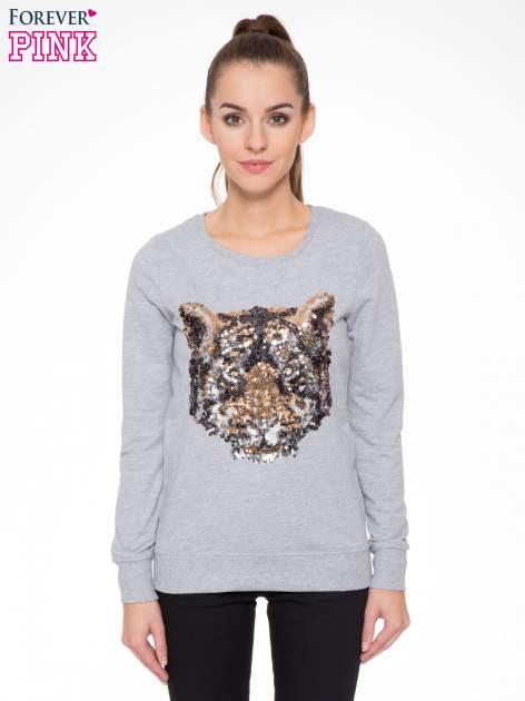 Jasnoszara bluza z aplikacją tygrysa z cekinów                                  zdj.                                  1