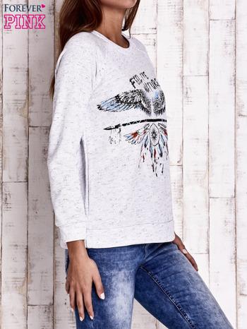Jasnoszara bluza z napisem FEEL THE NATURE                                  zdj.                                  3