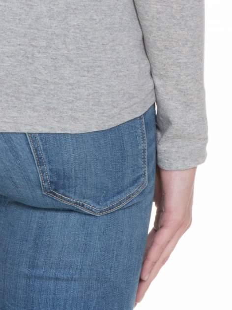 Jasnoszara bluzka z długim rękawem z bawełny                                  zdj.                                  7