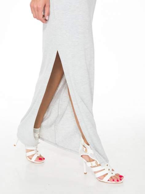Jasnoszara długa sukienka z węzłem z tyłu                                  zdj.                                  5