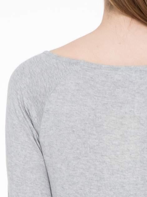 Jasnoszara melanżowa basicowa gładka bluzka z rękawem 7/8                                  zdj.                                  5