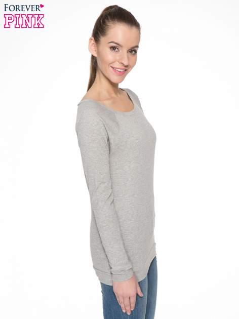 Jasnoszara melanżowa bawełniana bluzka z rękawami typu reglan                                  zdj.                                  3