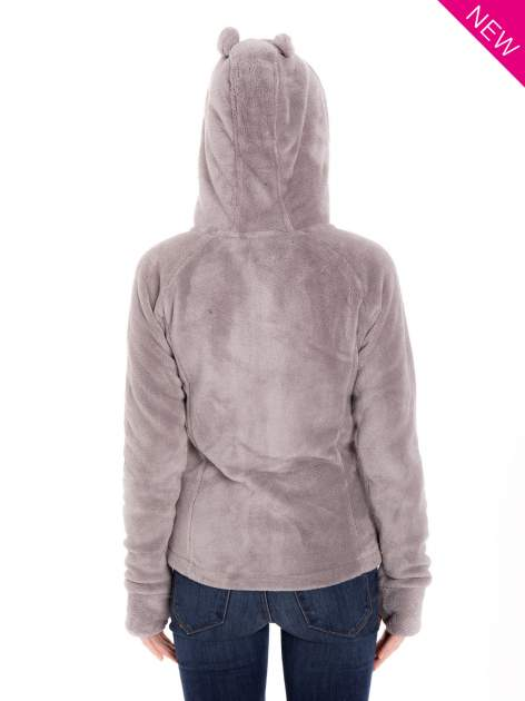Jasnoszara pluszowa bluza z kapturem z uszkami i pomponami                                  zdj.                                  10