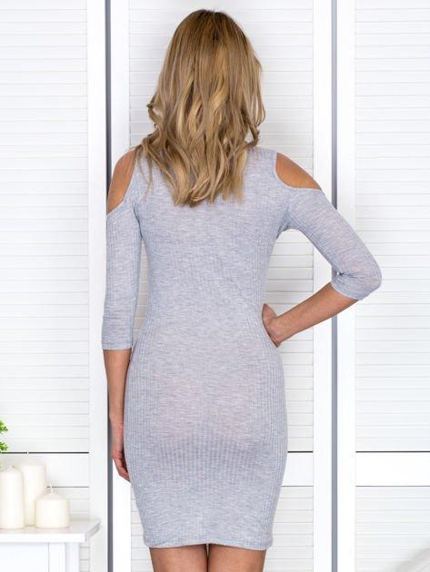 Jasnoszara sukienka cold arms prążkowana                              zdj.                              2