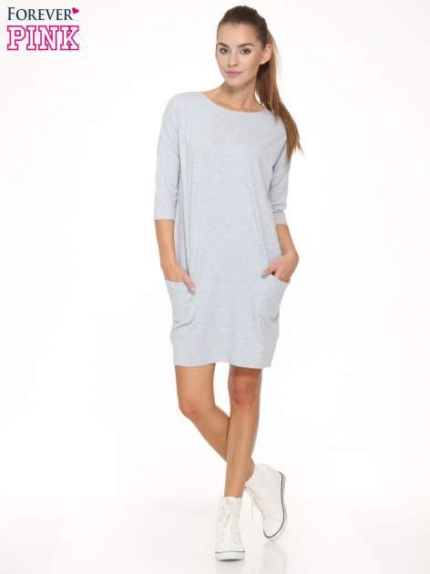 Jasnoszara sukienka dresowa z kieszeniami                                  zdj.                                  2