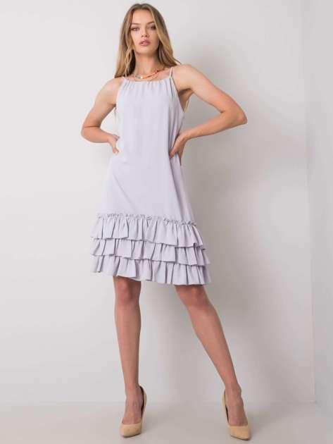 Jasnoszara sukienka z falbaną Routh RUE PARIS