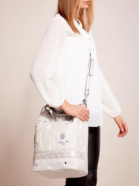 Jasnoszara torba z łączonych materiałów w stylu japońskim                              zdj.                              2