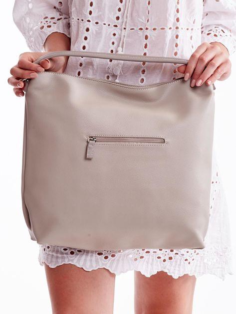 Jasnoszara torba z ukośnymi suwakami                              zdj.                              5