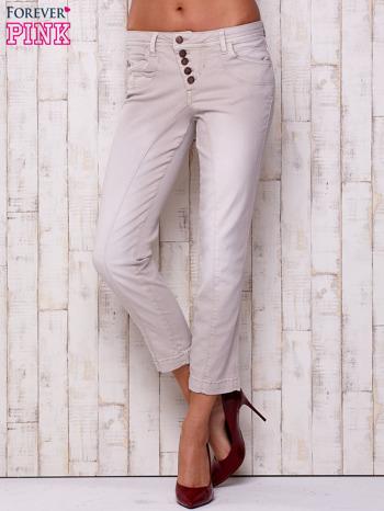 Jasnoszare materiałowe spodnie z przeszyciem                                  zdj.                                  1