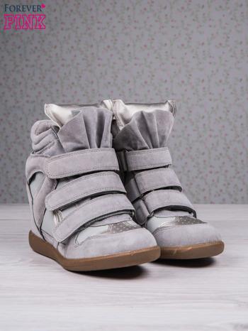 Jasnoszare zamszowe sneakersy na rzepy Axis z wstawkami                                  zdj.                                  3