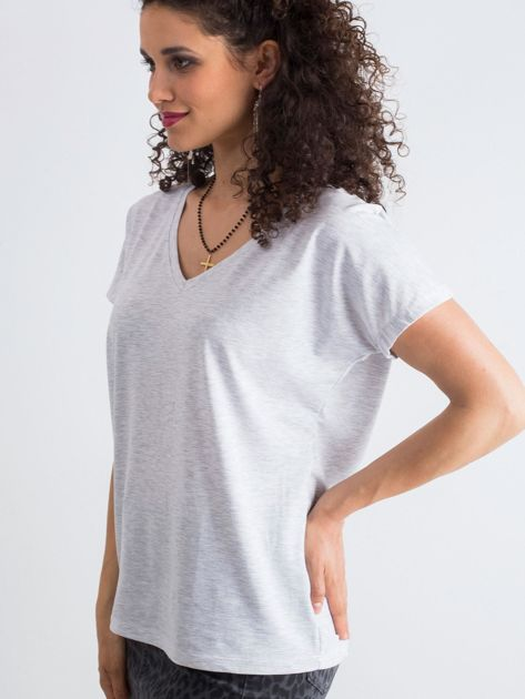 Jasnoszary melanżowy t-shirt Emory                              zdj.                              4