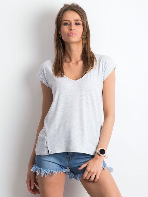 Jasnoszary melanżowy t-shirt Vibes                              zdj.                              3