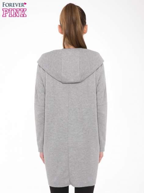 Jasnoszary płaszczyk dresowy bluza z kapturem                                  zdj.                                  3
