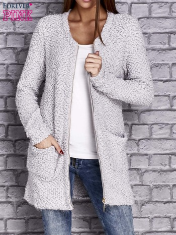 Jasnoszary sweter long hair zapinany na suwak                                  zdj.                                  5