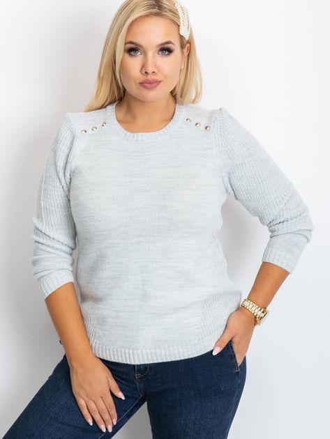 Jasnoszary sweter plus size Queen                              zdj.                              5
