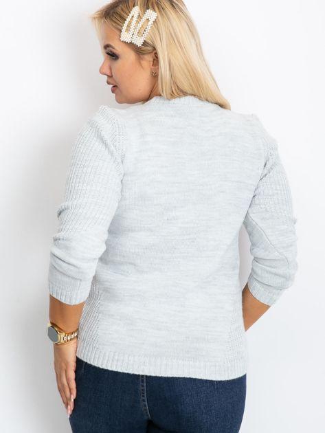 Jasnoszary sweter plus size Queen                              zdj.                              2