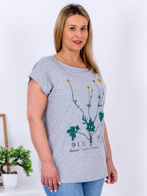 Jasnoszary t-shirt z jaskrami PLUS SIZE                              zdj.                              5