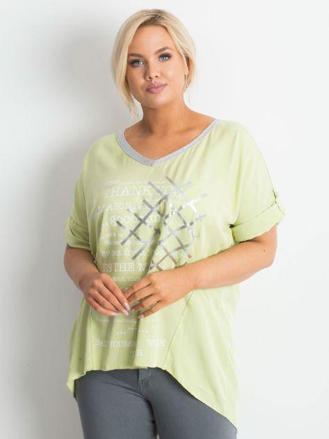Jasnozielona bluzka plus size z nadrukiem