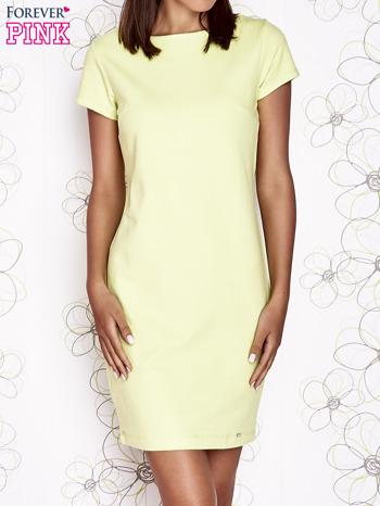 Jasnozielona sukienka dresowa o prostym kroju                                  zdj.                                  1