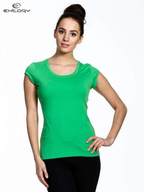 Jasnozielony damski t-shirt sportowy basic