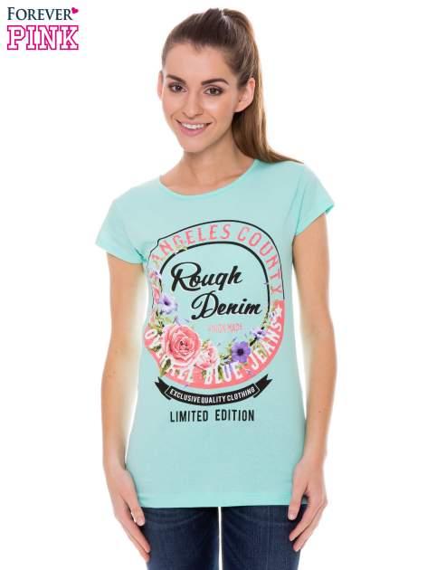 Jasnozielony t-shirt z dziewczęcym nadrukiem ROUGH DENIM                                  zdj.                                  1