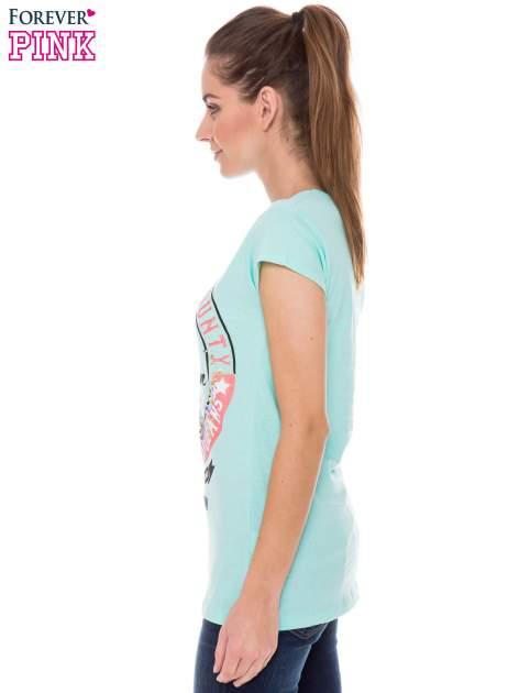 Jasnozielony t-shirt z dziewczęcym nadrukiem ROUGH DENIM                                  zdj.                                  2