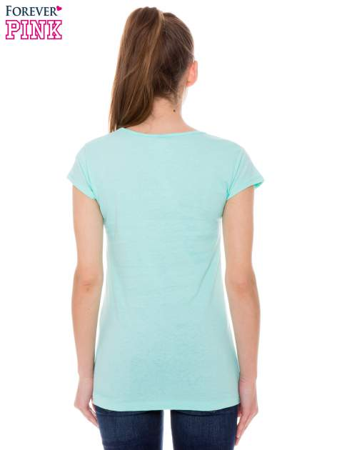 Jasnozielony t-shirt z dziewczęcym nadrukiem ROUGH DENIM                                  zdj.                                  3