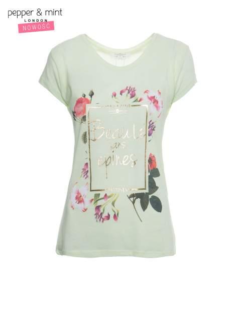 Jasnozielony t-shirt z kwiatowym nadrukiem i złotym napisem                                  zdj.                                  2