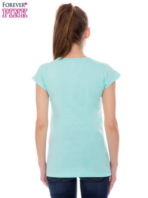 Jasnozielony t-shirt z nadrukiem ICE CREAM                                  zdj.                                  3