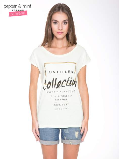 Jasnozielony t-shirt z nadrukiem UNTITLED COLLECTION                                  zdj.                                  1