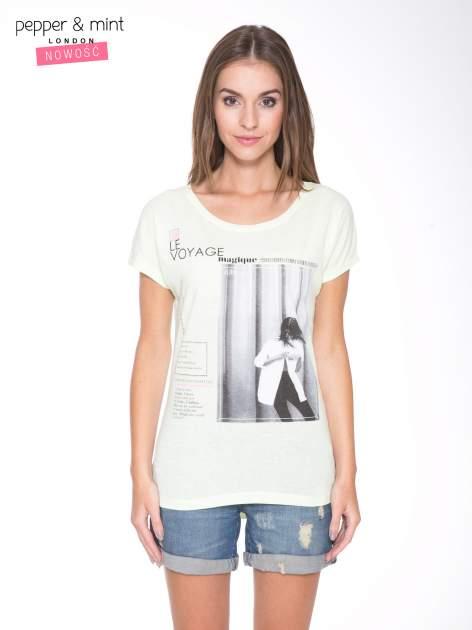 Jasnozielony  t-shirt z nadrukiem fashion                                  zdj.                                  1