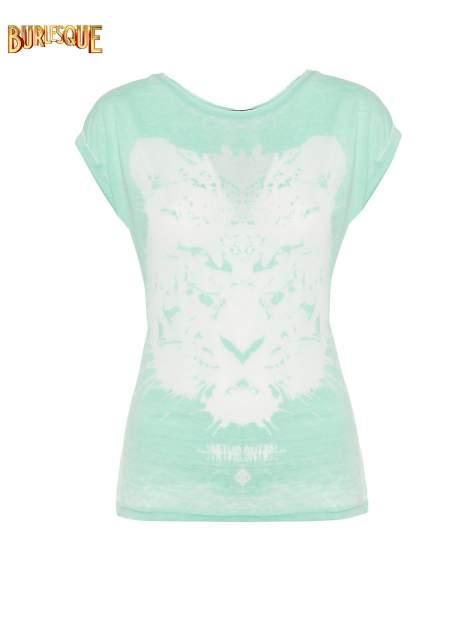 Jasnozielony t-shirt z nadrukiem tygrysa