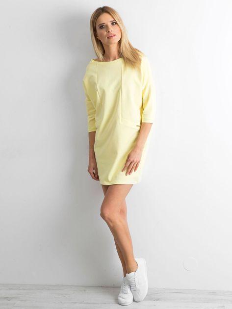 Jasnożółta bawełniana sukienka                              zdj.                              4