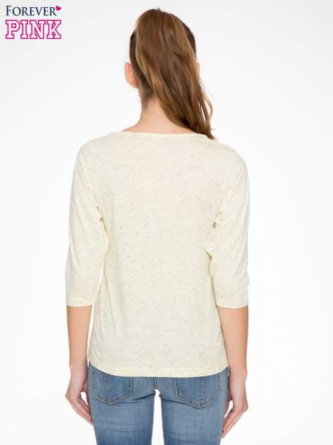 Jasnożółta melanżowa bluzka z rękawami 3/4                                  zdj.                                  4
